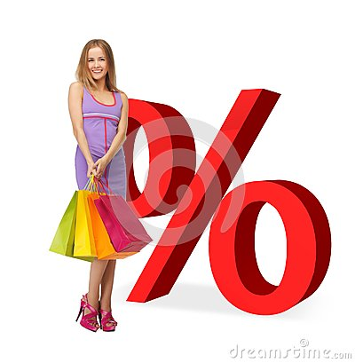 Woman with shopping bags and percent signs