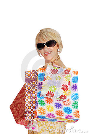 Woman with shopping bags and sunglasses