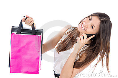 Woman shopping bags talking on phone mobile