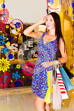 Woman in shopping center
