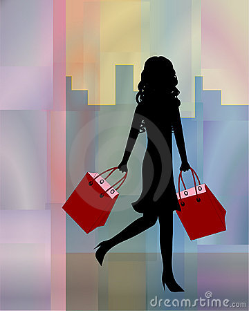 Woman shopping in the city