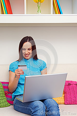 Woman shopping in internet