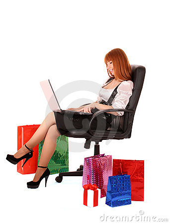 Woman   shopping on-line