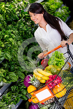 Woman shopping organic