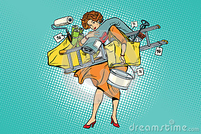 Woman with shopping repair tools Vector Illustration
