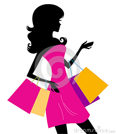 Free Woman Shopping Silhouette Isolated On White Stock Image - 25958561