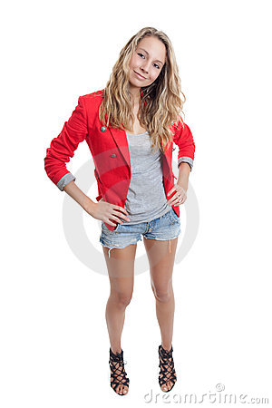 Woman In Short Jeans And Red Jacket Royalty Free Stock Photos ...