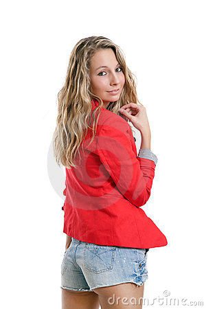 Woman in short jeans and red jacket