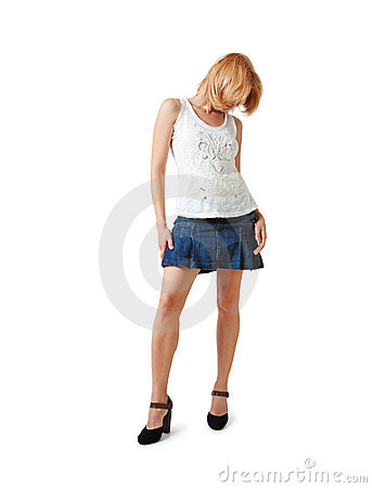 Woman in short skirt