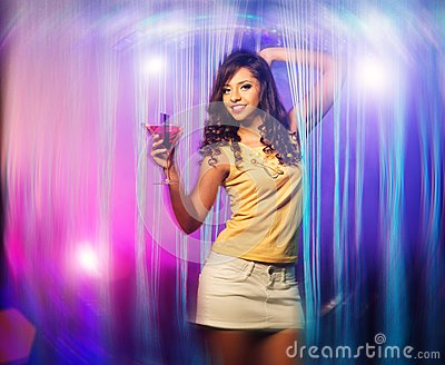 Woman in short skirt at the night club