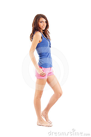 Woman in shorts