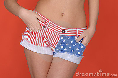 Woman in shorts colors of USA flag