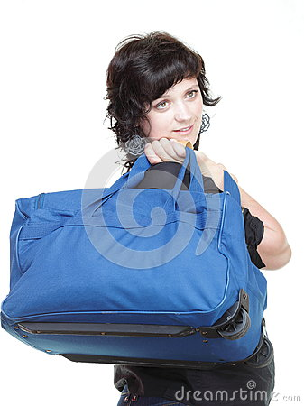 Woman and shoulder bag isolated