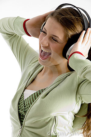 Woman shouting while listening to music