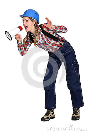 Woman shouting into a loudspeaker