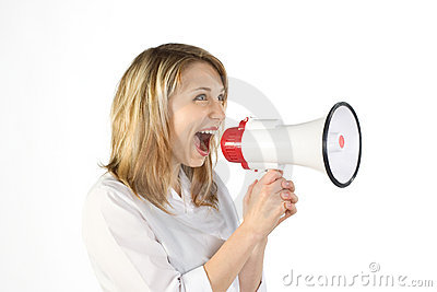 Woman shouting in megaphone