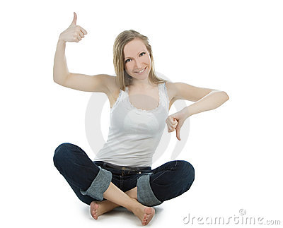 Woman shouting thumbs up and thumbs down
