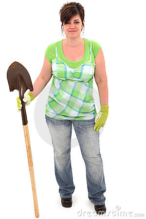 Woman with Shovel and Garden Gloves