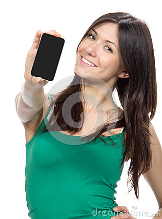 Woman Show display of mobile cell phone