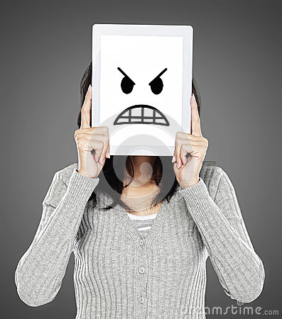 Woman showing angry emotion icon