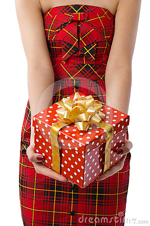 Woman showing beautiful red gift box