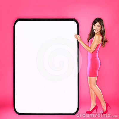 Woman showing big sign
