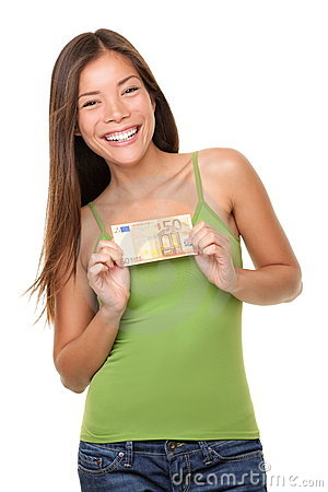 Woman showing euro money