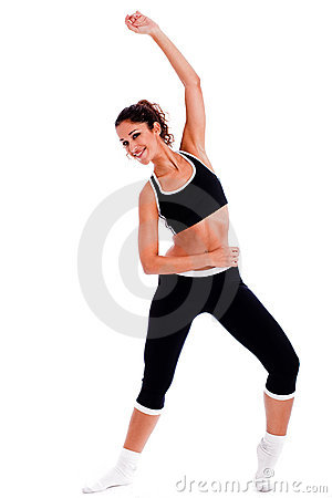 Woman showing a fitness  position