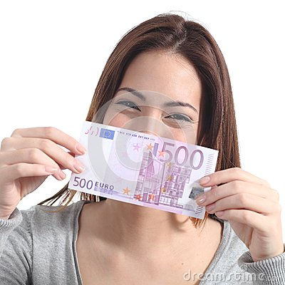 Woman showing a five hundred euros banknote