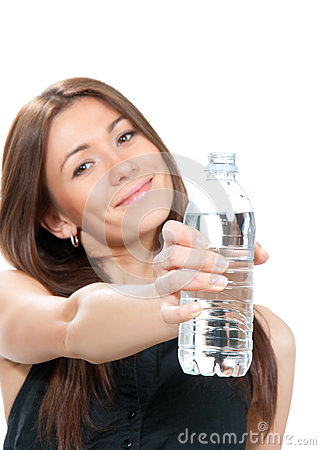 Woman showing or giving bottle of pure still drinking water