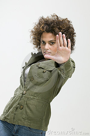 Woman showing hand