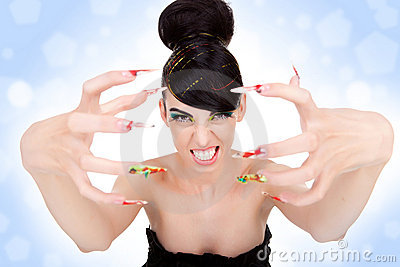 Woman showing her big fancy nails