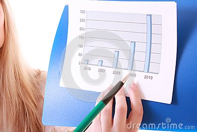 Woman showing positive chart