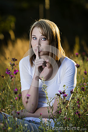 Free Woman Showing Quiet Sign Stock Photo - 45106250
