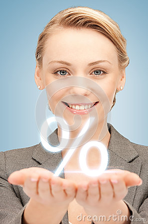 Free Woman Showing Sign Of Percent In Her Hands Royalty Free Stock Photo - 38284485