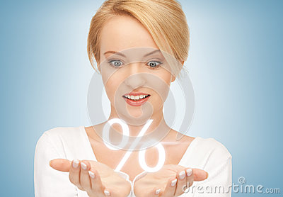 Woman showing sign of percent in her hands
