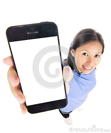 Woman showing smart phone