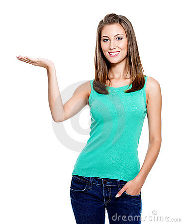 Free Woman Showing Something On Palm Royalty Free Stock Image - 16151226