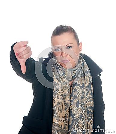 Woman showing thumb down