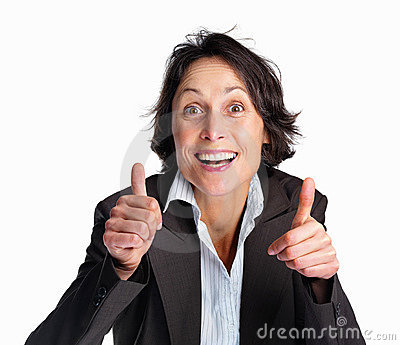 Woman showing thumbs up from both the hands
