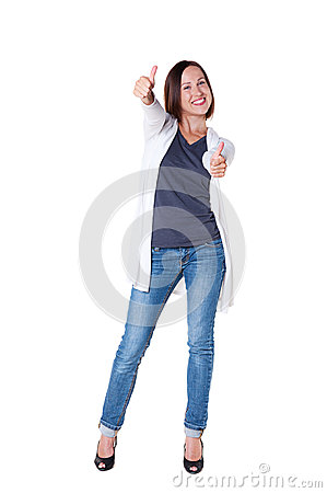 Woman showing thumbs up and smiling
