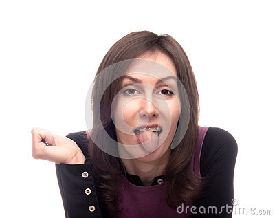Woman showing tongue out isolated white