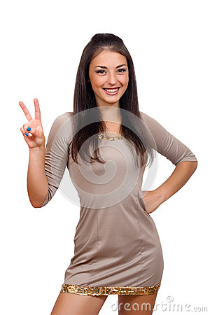 Free Woman Showing Two Fingers Or Victory Gesture Stock Photos - 60863613