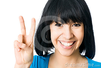 Woman showing the victory hand sign