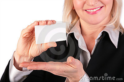 Woman showing white card for text 2