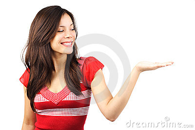Woman showing your product