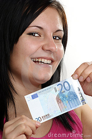 woman shows her twenty euro banknote
