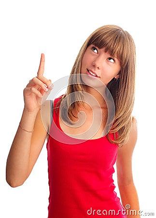 Woman shows an index finger upwards
