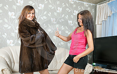 Woman shows new fur coat