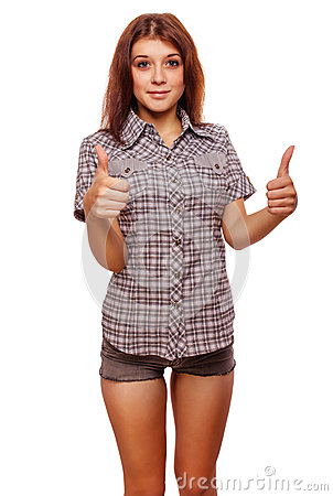 Woman shows positive sign thumbs yes, shirt